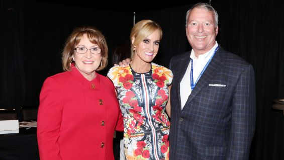 Orlando County Mayor Teresa Jacobs and Orlando Mayor Buddy Dyer meet WWE Ambassador Dana Warrior.
