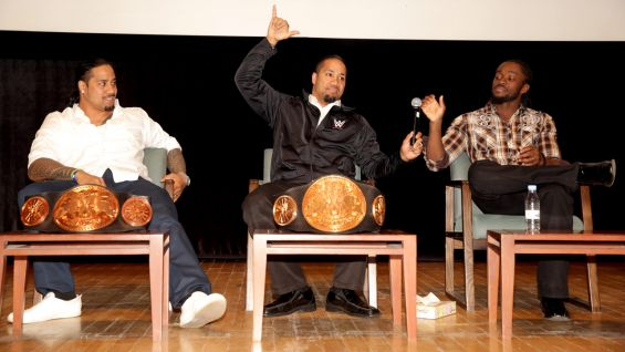 WWE Tag Team Champions The Usos and Kofi Kingston kick off the anti-bullying rally.
