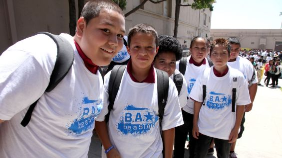 Hundreds of students donned their new Be a STAR T-shirts for the special event.