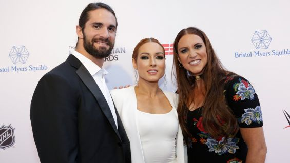 WWE Universal Champion Seth Rollins, Raw Women's Champion Becky Lynch and WWE Chief Brand Officer Stephanie McMahon hit the red carpet at the 2019 ESPN Sports Humanitarian Awards in Los Angeles.