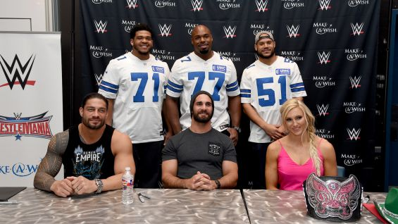Make a wish signing with roman reigns seth rollins and charlotte in wwe superstars roman reigns seth rollins and charlotte joined dallas cowboy players lael m4hsunfo