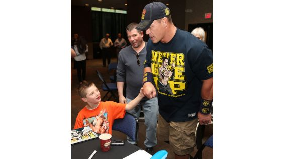 "Cena says hello to Nick ""The Stitch,"" whom he met earlier in the day on ""Today."""