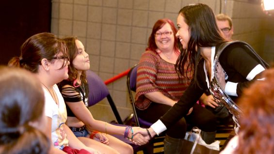 AJ Lee meets Heidie, who is 9.