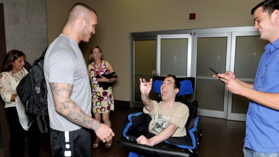 Randy Orton says hello to Nicholas.