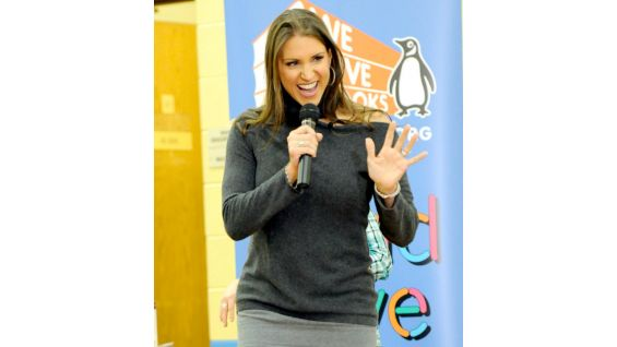 WWE Chief Brand Officer Stephanie McMahon is given a warm welcome by students at Nicolet Elementary School in Green Bay, Wisc.