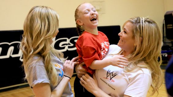 Renee Young and Natalya meet members of the Special Olympics Young Athletes program.