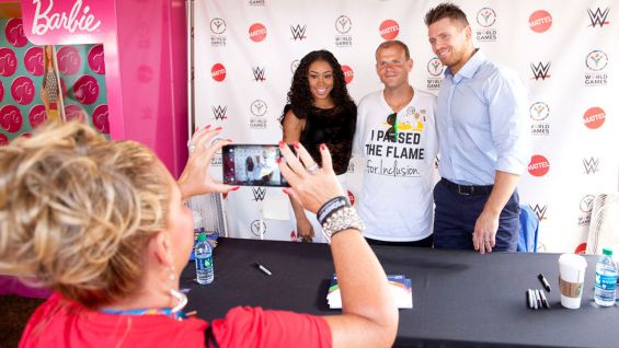 Cameron and The Miz pose for a picture at the Special Olympics World Games in Los Angeles.