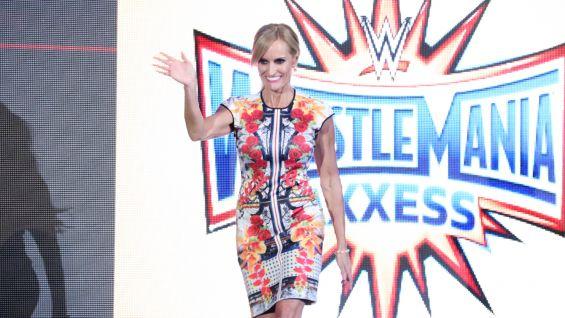 Dana Warrior says hello to the WWE Universe at WrestleMania Axxess.