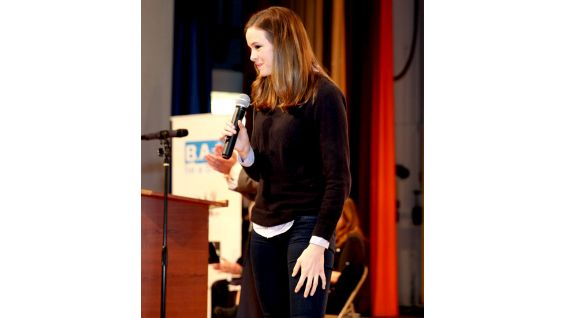 Disney Channel films actress Danielle Panabaker joins the anti-bullying rally.