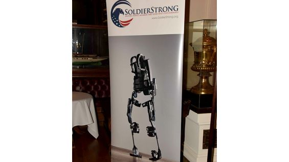 The Ekso Bionics GT robotic exoskeleton enables individuals with any amount of lower extremity weakness or paralysis to stand up and walk.