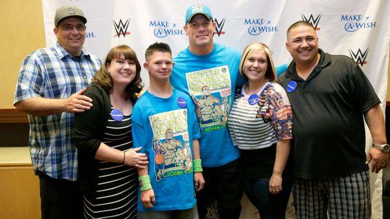 John Cena meets Brock, 16, from Bakersfield, Calif., before Raw in Los Angeles.