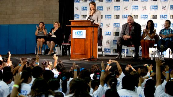 WWE Vice President of Creative Stephanie McMahon kicks off the Be a STAR rally.