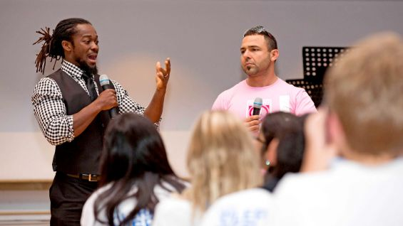 Kofi Kingston and Santino Marella talk to students in Abu Dhabi about Be a STAR.