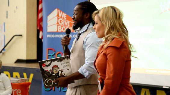 Kofi Kingston and Natalya kick off a Reading Celebration with Pearson Foundation at Kizirian Elementary School in Providence, R.I.