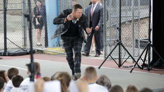 The Miz greets the hundreds of students in attendance.