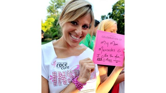 WWE Diva Lilian Garcia races in celebration of her mother at the Susan G. Komen Race for the Cure in New York City.