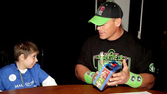 John Cena meets Edward, 8, of Make-A-Wish.