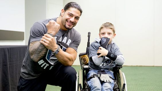 Roman Reigns meets Make-A-Wish's Harry, age 8, in Brighton, U.K.