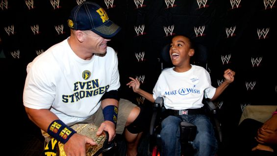 World Heavyweight Champion John Cena says hello to Carl.