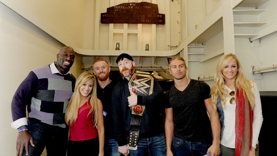 Titus O'Neil, Lilian Garcia, Heath Slater, Sheamus, Tyler Breeze and Summer Rae tour the USS New York, an advanced ship made with steel from the World Trade Center.