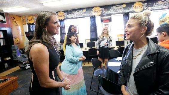 """McMahon meets """"Sharknado"""" actress and S.T.A.R. Alliance member Cassie Scerbo before the rally."""