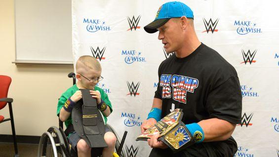 Giovanni checks out Cena's United States Championship.