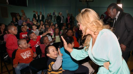 Natalya put smiles on students' faces at a school that was hit hard by Hurricane Sandy.
