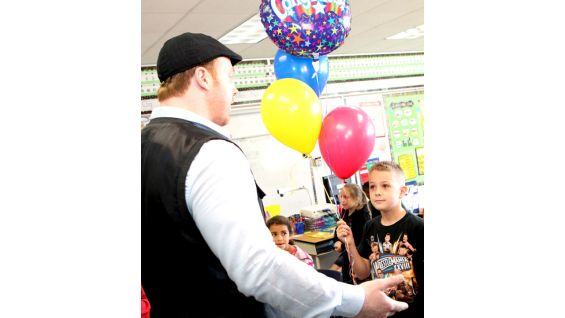 "Sheamus surprises 2013 WrestleMania Reading Challenge online winner Alexander ""Lex"" Strickland."