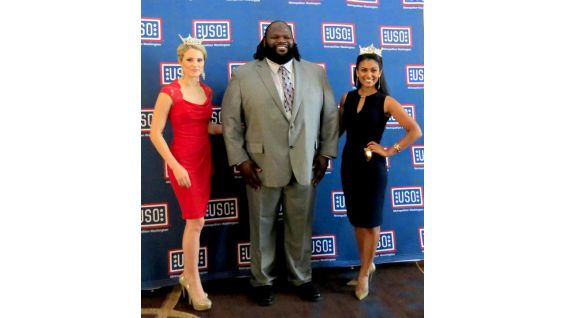 Henry is joined by Miss Maryland Christina Denny, left, and Miss America 2014 Nina Davuluri.