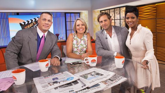 "Actor Josh Lucas of the new movie, ""The Mend,"" with Cena, and ""Today"" co-hosts Dylan Dreyer and Hall."