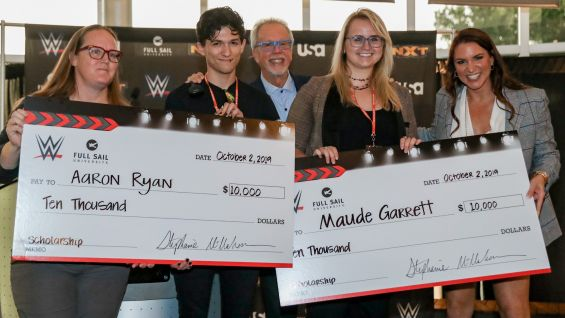 Aaron Ryan and Maude Garrett are both in Full Sail's Class of 2020 and have been contributing to WWE events for one-and-a-half years.