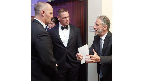 Cena and Stewart talk to U.S. Navy SEALS Commander Rorke Denver.
