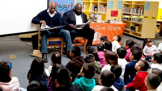 "The Ascend Elementary Schoolers listen to the Superstars read ""Otis."""