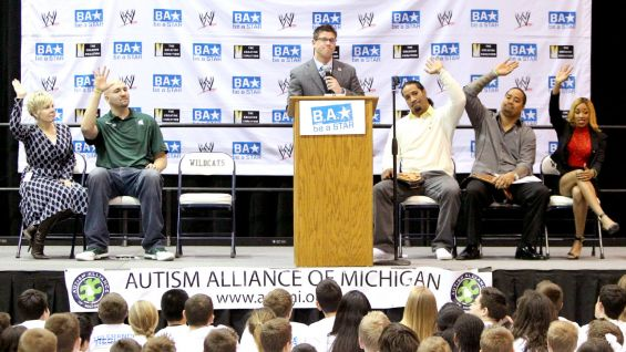 He asks the Superstars and students how many of them have been bullied.