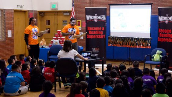 The Usos encourage the kids to sign up for the WrestleMania Reading Challenge for a chance to win a trip to WrestleMania 31!