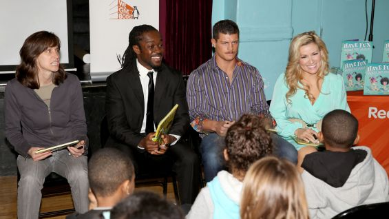 "Hoboken Mayor Dawn Zimmer, Kofi, Cody and Natalya read ""Stand Tall, Molly Lou Melon"" to the students."