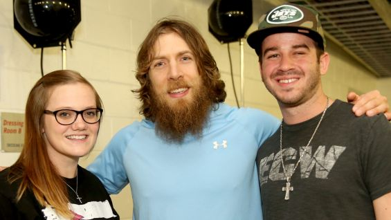 Yes! Yes! Yes! Daniel Bryan also meets the winners backstage.