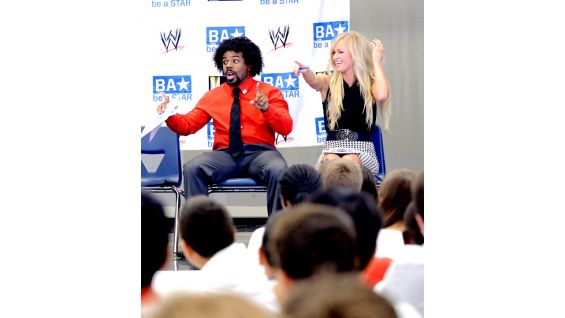 Woods and Summer Rae are pumped to host their first anti-bullying rally with WWE.