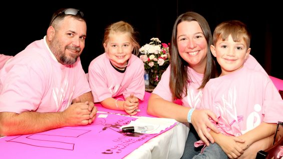 The breast cancer survivors and Komen guests are honored at a reception before Raw at Bon Secours Wellness Arena in Greenville, S.C.