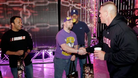 The auction winners are thrilled to meet John Cena.