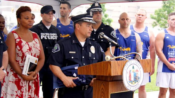 Law Enforcement officials welcome the Flame of Hope to Camden, N.J.