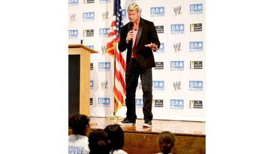 Ziggler talks to the students about different forms of bullying, including cyber, physical and verbal.
