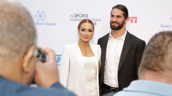 WWE's resident power couple shines on the red carpet at L.A. Live's The Novo.