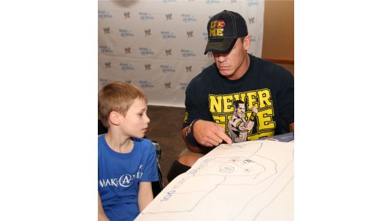 "Cena says hello to Logan, aka ""The Eliminator,"" before Raw."
