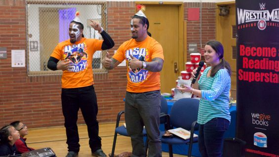 The Usos get into the book's characters during the Reading Celebration.