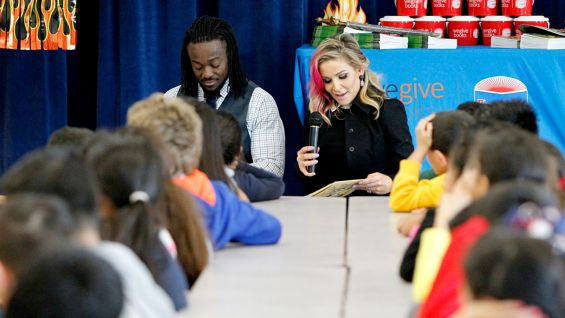 Kofi Kingston and Natalya host a Reading Celebration in Fellsmere, Fla., with WWE and We Give Books.
