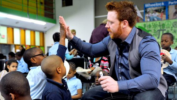 Sheamus hosts a Reading Celebration at Mattahunt Elementary School.