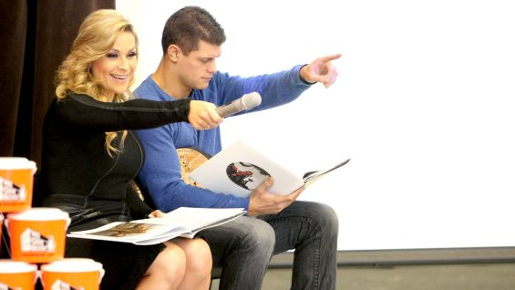 """Natalya & Cody Rhodes read the book """"Otis"""" to children at Ranier View Elementary School in Seattle as part of a Reading Celebration."""