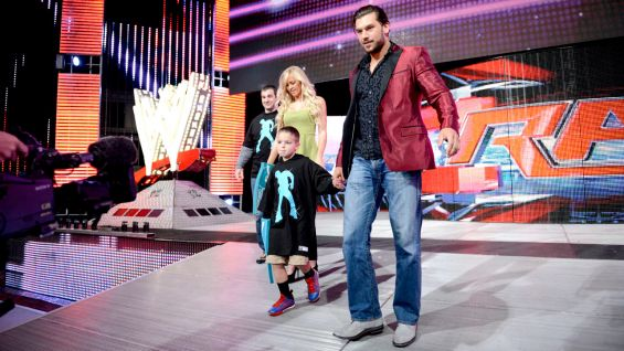 The youngster gets an idea of what it would be like to make a Superstar entrance!