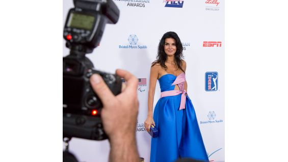 Actress Angie Harmon walks the red carpet.